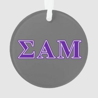 Sigma Alpha Mu Purple Letters Ornament