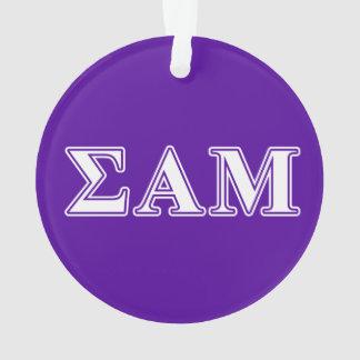 Sigma Alpha Mu White and Purple Letters Ornament
