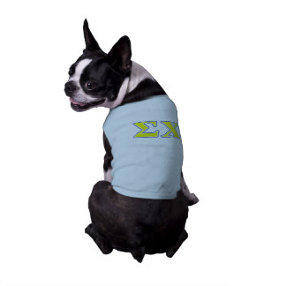 Sigma Chi Yellow and Blue Letters Sleeveless Dog Shirt