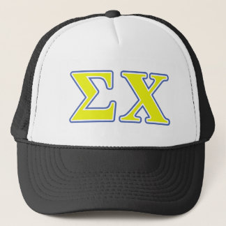 Sigma Chi Yellow and Blue Letters Trucker Hat