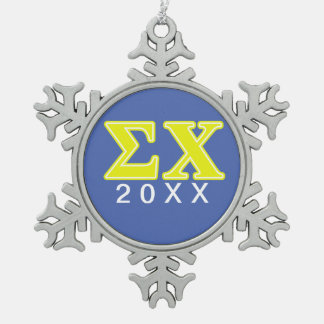 Sigma Chi Yellow Letters Snowflake Pewter Christmas Ornament
