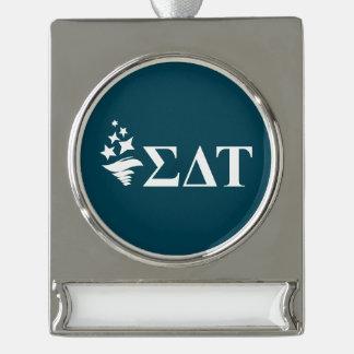 Sigma Delta Tau | Lil Big Logo Silver Plated Banner Ornament