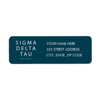 Sigma Delta Tau | Modern Type Return Address Label