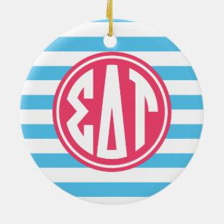 Sigma Delta Tau | Monogram Stripe Pattern Ceramic Ornament