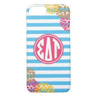 Sigma Delta Tau | Monogram Stripe Pattern iPhone 8/7 Case