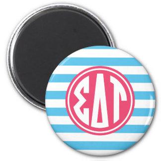 Sigma Delta Tau | Monogram Stripe Pattern Magnet