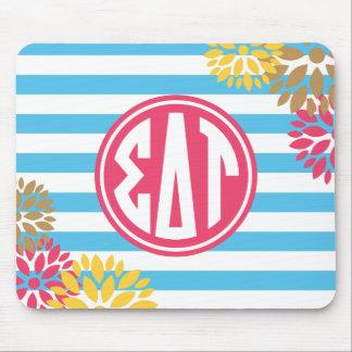 Sigma Delta Tau | Monogram Stripe Pattern Mouse Pad