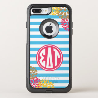 Sigma Delta Tau   Monogram Stripe Pattern OtterBox Commuter iPhone 8 Plus/7 Plus Case