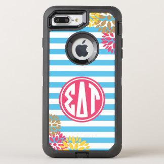 Sigma Delta Tau   Monogram Stripe Pattern OtterBox Defender iPhone 8 Plus/7 Plus Case