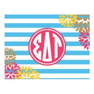 Sigma Delta Tau | Monogram Stripe Pattern Postcard