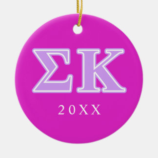 Sigma Kappa Lavender Letters Ceramic Ornament