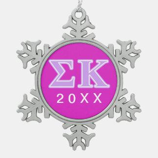 Sigma Kappa Lavender Letters Snowflake Pewter Christmas Ornament