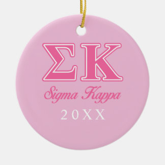 Sigma Kappa Light Pink Letters Round Ceramic Decoration