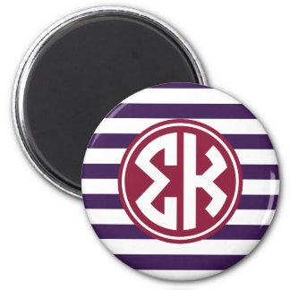 Sigma Kappa | Monogram Stripe Pattern Magnet