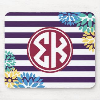 Sigma Kappa | Monogram Stripe Pattern Mouse Pad