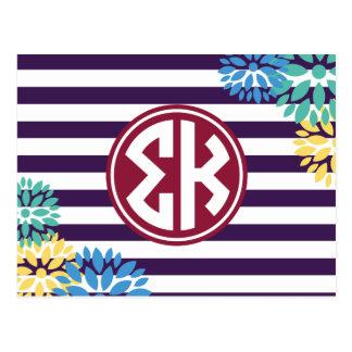 Sigma Kappa | Monogram Stripe Pattern Postcard