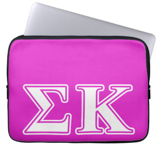 Sigma Kappa White and Lavender Letters Laptop Sleeve