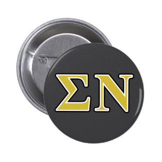 Sigma Nu Black and Gold Letters 6 Cm Round Badge