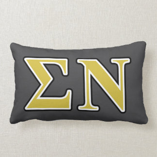 Sigma Nu Black and Gold Letters Lumbar Cushion
