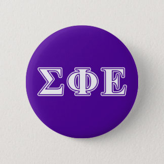 Sigma Phi Epsilon White and Purple Letters 6 Cm Round Badge