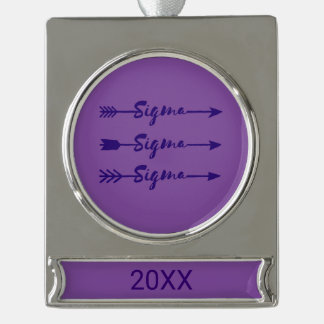Sigma Sigma Sigma Arrow Silver Plated Banner Ornament