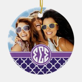 Sigma Sigma Sigma | Monogram and Photo Ceramic Ornament