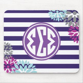 Sigma Sigma Sigma | Monogram Stripe Pattern Mouse Pad