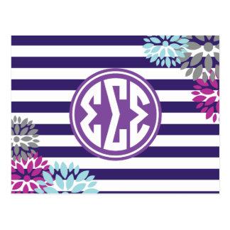 Sigma Sigma Sigma | Monogram Stripe Pattern Postcard