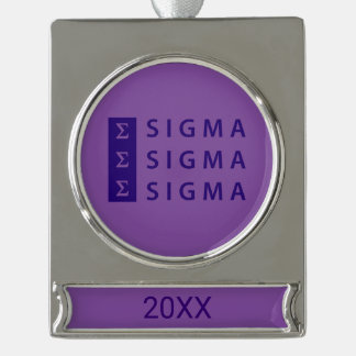 Sigma Sigma Sigma Stacked Silver Plated Banner Ornament