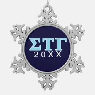 Sigma Tau Gamma Blue Letters Snowflake Pewter Christmas Ornament