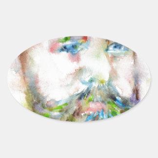SIGMUND FREUD - watercolor portrait.1 Oval Sticker