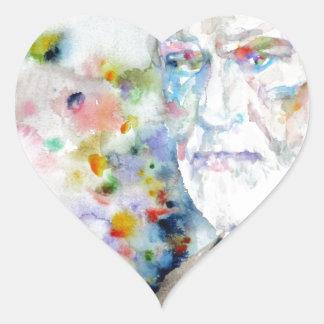 SIGMUND FREUD - watercolor portrait.2 Heart Sticker