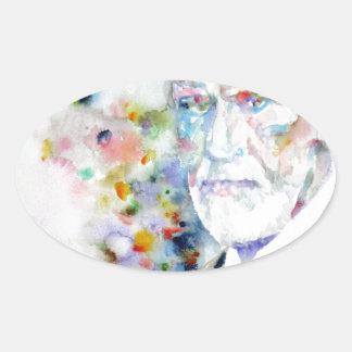 SIGMUND FREUD - watercolor portrait.2 Oval Sticker