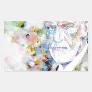 SIGMUND FREUD - watercolor portrait.2 Rectangular Sticker