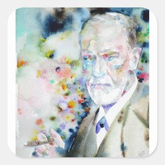 SIGMUND FREUD - watercolor portrait.2 Square Sticker