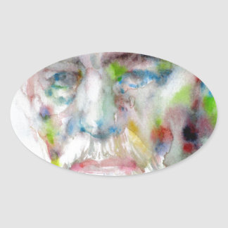 sigmund freud - watercolor portrait.3 oval sticker