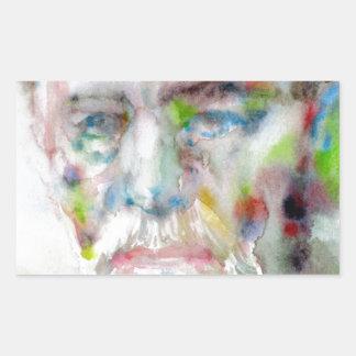 sigmund freud - watercolor portrait.3 rectangular sticker