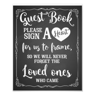 sign a heart guest book wedding sign photo art
