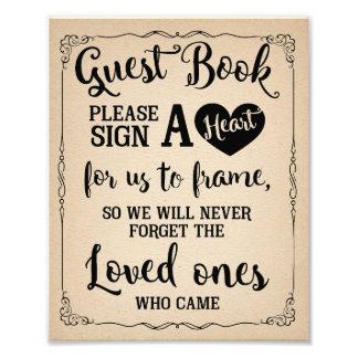 sign a heart guest book wedding sign photo print