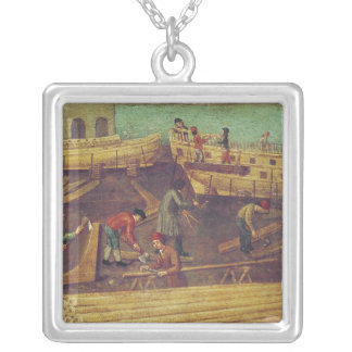 Sign for the Marangoni Family of shipbuilders Silver Plated Necklace