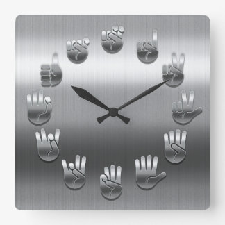 Sign Language -Stainless Square Wall Clock