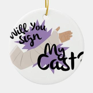 Sign My Cast Ceramic Ornament
