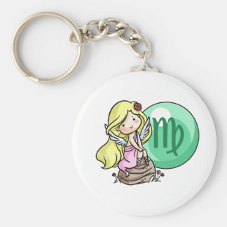 Sign of Virgin Basic Round Button Key Ring