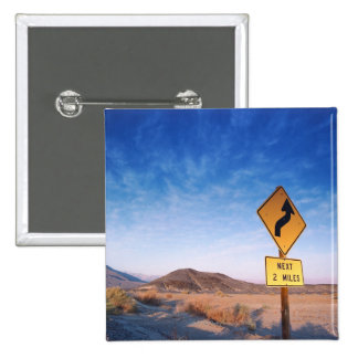 Sign on the death valley road in sunset 15 cm square badge