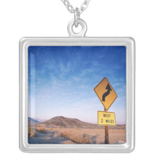 Sign on the death valley road in sunset silver plated necklace