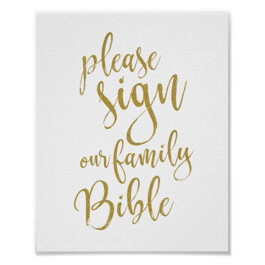 Sign our Family Bible 8x10 Wedding Signage