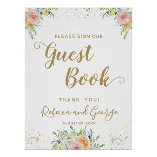 Sign our guest book floral dusk pink and gold