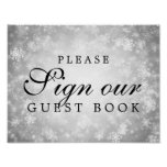 Sign Wedding Guestbook Silver Winter Wonderland