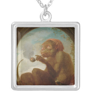 Sign with a monkey smoking a pipe silver plated necklace