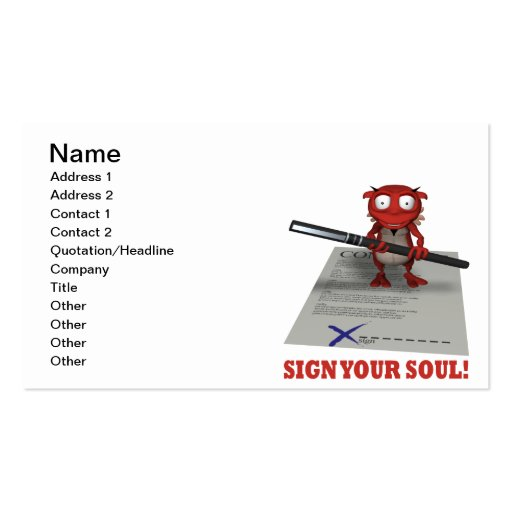 Sign Your Soul To The Devil Business Card Template